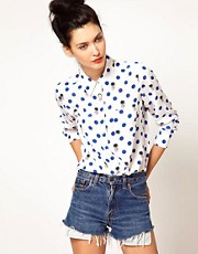 Equipment Brett Single Pocket Shirt in Polka Dot Thistles Print