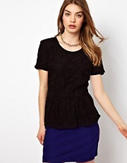 By Zoe Jersey Lace Peplum Top