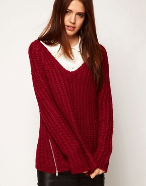 Image 1 ofASOS Zip Detail Chunky Jumper