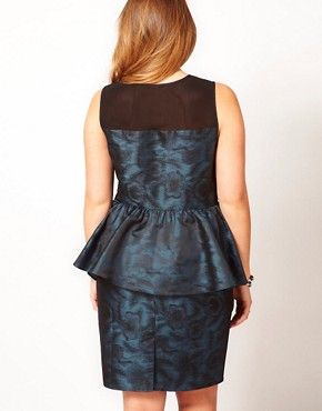 Image 2 ofASOS CURVE Exclusive Peplum Dress In Metallic