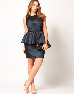 Image 4 ofASOS CURVE Exclusive Peplum Dress In Metallic