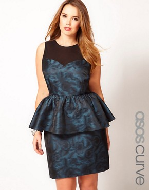 Image 1 ofASOS CURVE Exclusive Peplum Dress In Metallic