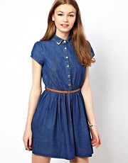 A Wear Denim Shirt Skater Dress