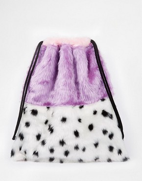 The Ragged Priest Faux Fur Colour Block Animal Print Drawstring Backpack