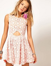 Minkpink Fanciful Prom Dress in Lace with Open Front