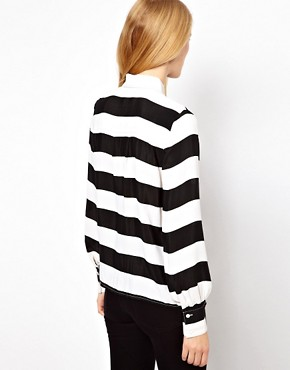 Image 2 ofASOS Shirt With Monochrome Bold Stripe Print
