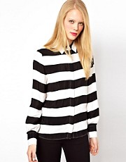 ASOS Shirt With Monochrome Bold Stripe Print
