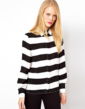 Image 1 ofASOS Shirt With Monochrome Bold Stripe Print