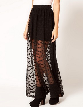 Image 4 ofASOS PETITE Spot Mesh Maxi Skirt