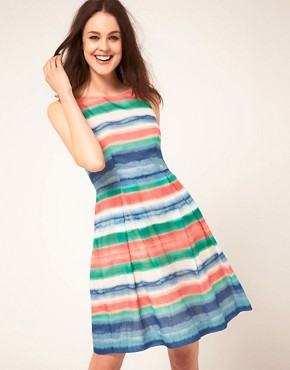 Image 1 ofBoutique By Jaeger High Waist Striped Prom Dress