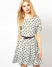 Jovonnista Printed Dress With Belt