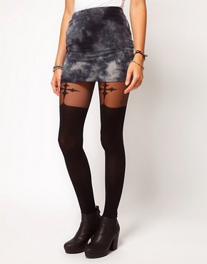 Image 1 ofASOS Gothic Cross Suspender Tights