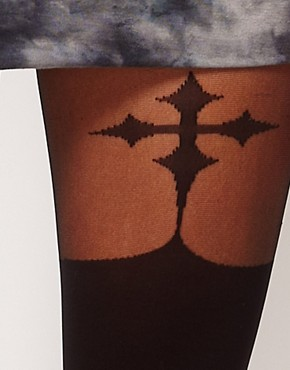 Image 2 ofASOS Gothic Cross Suspender Tights