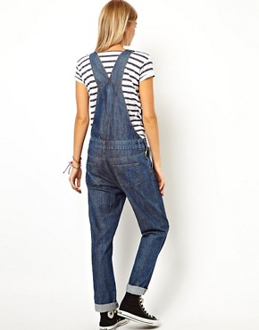 Image 2 ofASOS Dark Wash Denim Dungarees