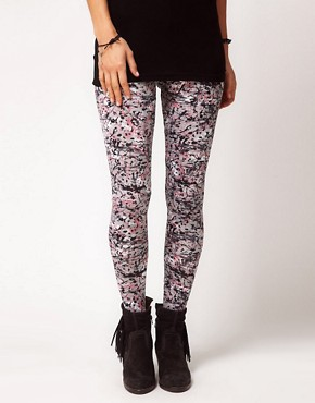 Image 4 ofASOS Leggings in Paint and Scribble Print