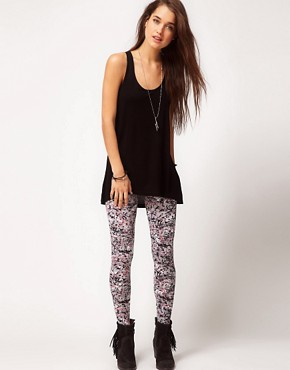 Image 1 ofASOS Leggings in Paint and Scribble Print