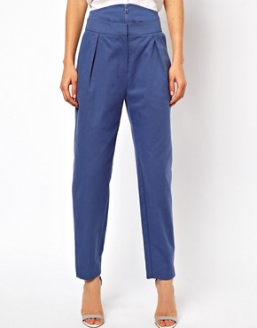 Image 4 ofASOS Trousers With High Waisted Zip Front