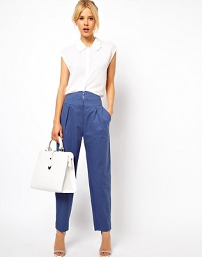 Image 1 ofASOS Trousers With High Waisted Zip Front