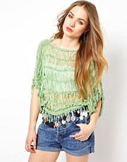 Jovonnista Green Knit Jumper With Tassel Discs