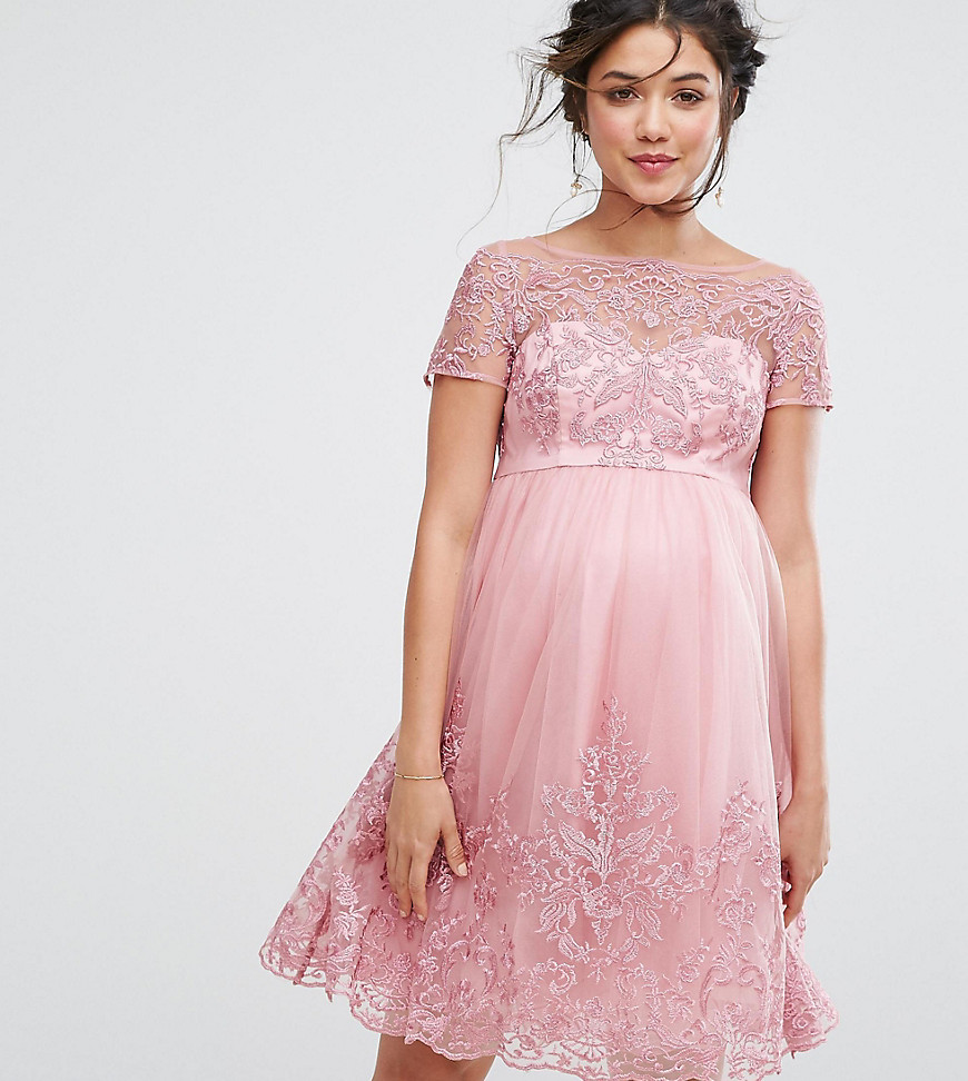Chi Chi London Maternity Premium Embroidered Prom Dress With Tulle Skirt