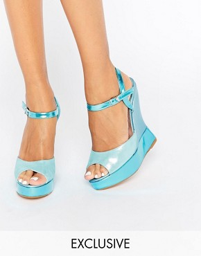 Terry de Havilland Electra Blue Glitter Wedge Sandals