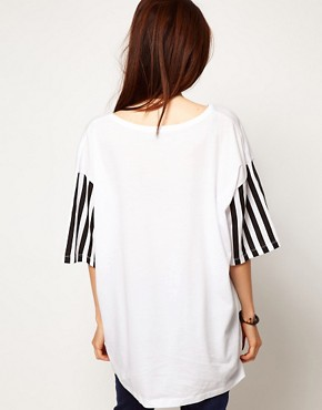 Image 2 ofASOS T-Shirt with Triangle Print and Stripe Sleeves
