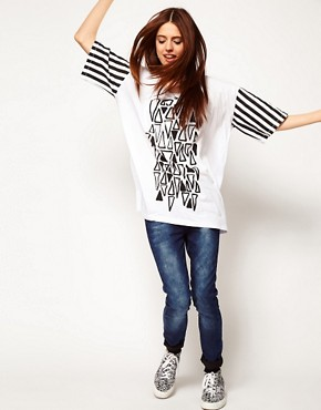 Image 4 ofASOS T-Shirt with Triangle Print and Stripe Sleeves