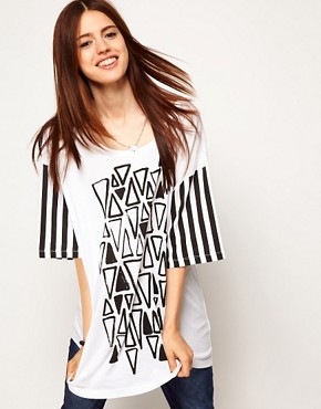 Image 1 ofASOS T-Shirt with Triangle Print and Stripe Sleeves