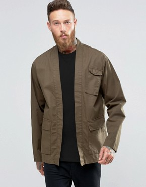 ASOS Military Kimono In Khaki With Pockets And Half Sleeve