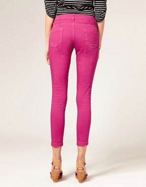 Image 2 ofASOS Pink Skinny Capri Jeans