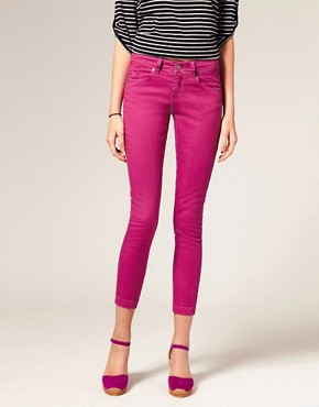 Image 1 ofASOS Pink Skinny Capri Jeans