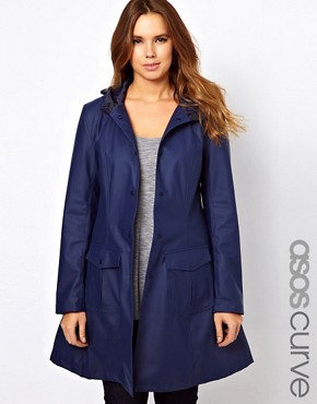 Image 1 ofASOS CURVE Rain Mac With Hood