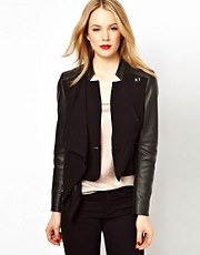 Karen Millen Tailored Jacket with Leather Look Sleeves