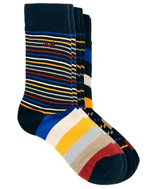 Image 1 ofPringle 3 Pack Multi Stripe Socks