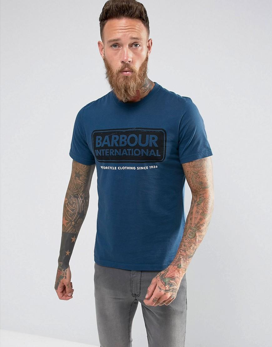 Barbour International Slim Fit International Large Logo Tee in Blue - Mid blue