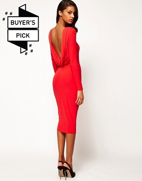 Image 1 ofASOS Midi Bodycon Dress With Drape V Back