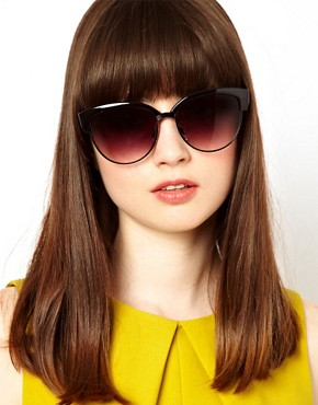Image 3 ofASOS Half Frame Angular Cat Eye Sunglasses
