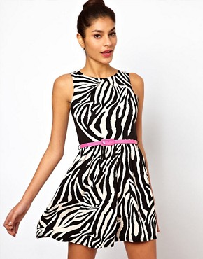 Image 1 ofLipsy Zebra Dress With Belt