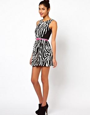 Image 4 ofLipsy Zebra Dress With Belt
