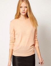 Ganni Fine Knit Sweater in Wool with Button Shoulder Detail