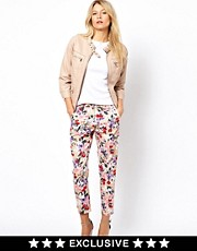 Oasis Exclusive Botanical Floral Print Trouser