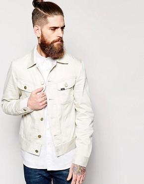 Lee Denim Jacket Rider Slim Fit Off White Sateen