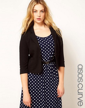 Image 1 ofASOS CURVE Blazer With Curved Lapel