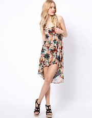 To Love Kuvaa Floral Dipped Hem Dress