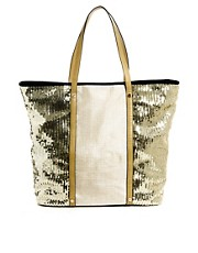 River Island Sequin Panel Beach Tote