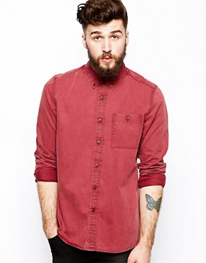 ASOS Twill Shirt In Long Sleeve With Acid Wash