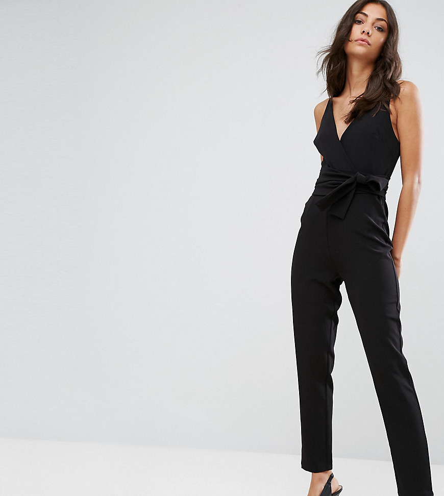 ASOS TALL Wrap Front Jumpsuit with Peg Leg and Self Belt