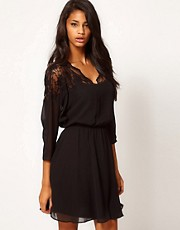 ASOS Skater Dress with Lace Top &amp; Scallop Neck