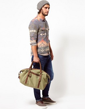 Image 3 ofASOS Canvas &amp; Leather Holdall