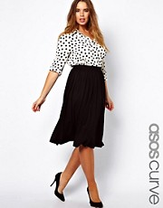 ASOS CURVE Full Skater Skirt in Longer Length